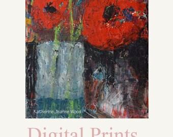 Red Poppy Flower Painting Print. Still Life Floral Art Digital Print. Living Room Wall Decor. Apartment Decor. Home Wall Art Prints. 56