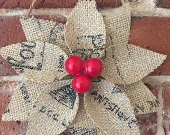 Set of THREE Burlap Poinsettia Christmas Ornaments - Rustic Christmas Ornament - Burlap Flowers - Christmas Decorations - Rustic Christmas