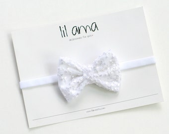 White Baby Headband - Christening Headband - Baptism Headband - Lace Headband - Girl Headband - Baby Bows - Hair Bows - Baby Girl Hair Bows