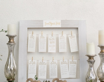 calligraphy seating chart // custom handwriting font in gold and silver pen for handwritten seating chart cards // custom guest list