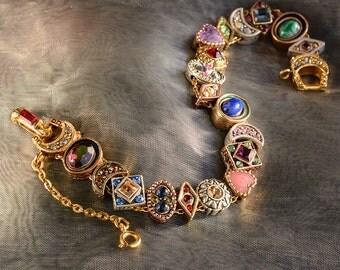 Vintage Slide Bracelet, Charm Bracelet, Victorian Bracelet, Wedding Bracelet, Antique Bracelet, Vintage Wedding, Renaissance BR107