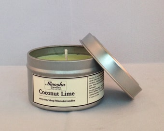 6 oz Coconut Lime Scented Soy Candle tin, green