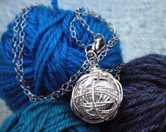 """Silver Yarn Necklace, Hand-wound wire wrapped ball of """"yarn"""" large pendant on long silver chain"""