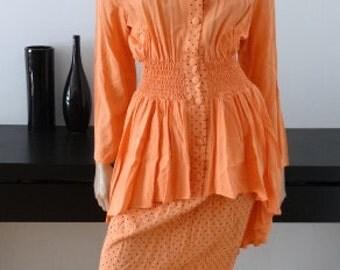 Robe vintage peche/pois noirs/ robe manteau /redingote taille 38-40 / size uk 10-12 - us 6-8