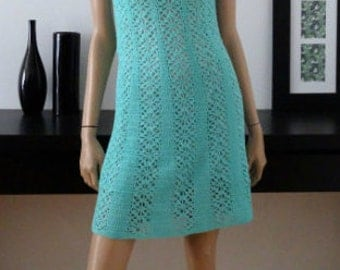 Robe vintage 60s tricot vert taille 34/Vtg amazing knitted green dress size uk 4/Jane/Twiggy
