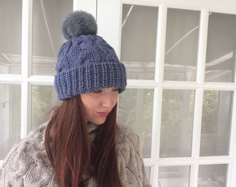 Last One !!!Luxurious woolly hat with fur pom pom/One Size/Chunky Knit Woolly Hat/Hand knit hat/Lambswool hat/Beanie hat/Winter hat