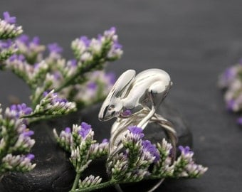 Running Rabbit Ring - Anticipation, 3D printed in sterling silver, silver rabbit ring
