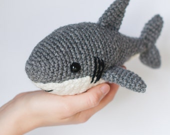 PATTERN: Crochet shark pattern - amigurumi shark pattern - crocheted shark pattern - shark toy tutorial - PDF crochet pattern