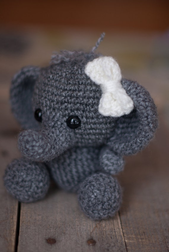 Free Crochet Pattern For Stuffed Elephant : PATTERN: Crochet elephant toy amigurumi by TheresasCrochetShop