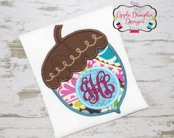 Monogram Acorn Applique Machine Embroidery Design, Thanksgiving, Fall, Boy, Girl, Turkey, Squirrel, Chipmunk, Halloween, 4x4, 5x7, 6x10, 9x9