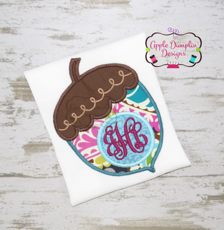 Monogram acorn applique machine embroidery design