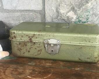 Vintage Metal Toolbox Green Rustic Primitive Farmhouse