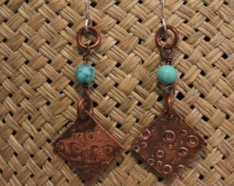 Copper Metal Clay earrings with turquoise beads. Silver ear wires, 2 inches long