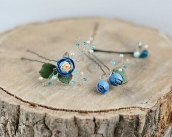 Floral hair pins set Blue wedding bridal hair pin Blue rhinestone hair set flowers Bridesmaid hair accessory gift Flower girl hair pin set