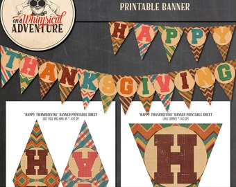 Thanksgiving banner printable collage sheet, digital download, DIY Thanksgiving party banner, party printables, party decorations, garland