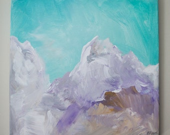 """Turquoise Purple Abstract Landscape Painting (Acrylic on Canvas, 12x12"""")"""
