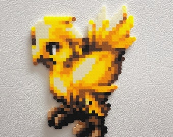 Chocobo, Perler, Final Fantasy, Tactics, 8 bit perler beads pixel art, Ramza, yellow bird, video game art, video game decor, wall art