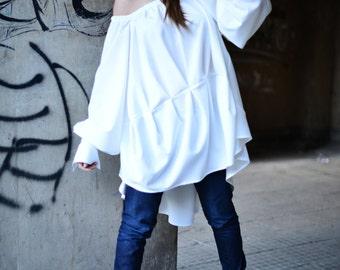 White Women top, Off Shoulder White Dress, Blouse With Extravagant Sleeves, Asymmetric Maxi Top by EUGfashion - TU0511PLV