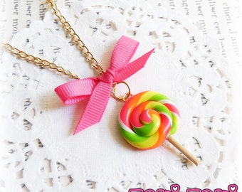 Neon Lollipop Necklace, Candy Necklace, Rainbow Lollipop Charm, Candy Pendant, Candy Gift, Kawaii Necklace, Kawaii Jewelry, Cute Gift Idea