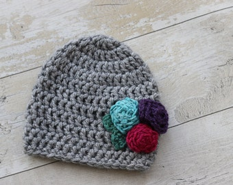 Crochet Hat with Rose Buds, 2T Hat, Girl Hat, Toddler Hat, Baby Girl Hat, Kids Hat, Childrens Hat, Gray