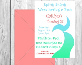 Summer Pool party invitation, summer party, Splish splash bash invitation, mermaid tail invitation, Birthday invitation, summer invitation