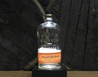 Bulleit Bourbon Bottle LED Light / Reclaimed Wood Base & LED Desk Lamp / Handmade Tabletop Lamp / Upcycled Bourbon Bottle Lighting / Custom