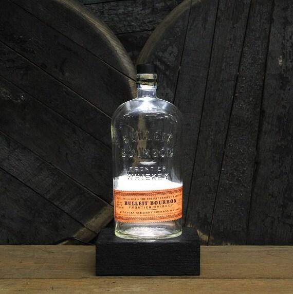 Bulleit Bourbon Bottle LED Light / Reclaimed Wood Base & LED Desk Lamp / Handmade Tabletop Lamp / Upcycled Bourbon Bottle Lighting / Custom