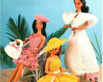 7 Outfits! Fashion Doll Fun in the Sun Dresses, Crocheted beach theme doll dress pattern to fit Barbie. Annie's Attic thread crochet, 87D70.