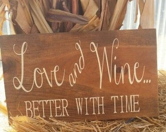 Love and Wine wood sign