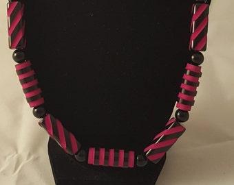 Hot Pink & Black Stripe Necklace - Hot Pink Necklace - Pink Necklace - Dimensional Necklace - Women's Pink Necklace - Women's Necklace
