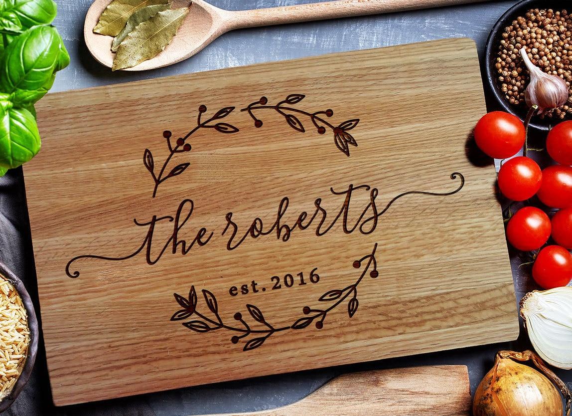 Monogrammed Wedding Gift: Custom Cutting Board Personalized Cutting Board Carving
