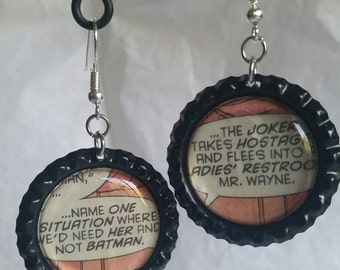 Batman comic book earrings, Batwoman statement earrings, geeky jewelry, nerdy earrings, batman accessories, dc comics, feminist jewelry