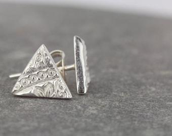 Small silver studs ~ triangle studs ~ tiny silver earrings ~ handmade earrings ~ simple studs ~ post earrings ~ girlfriend present ~ gift