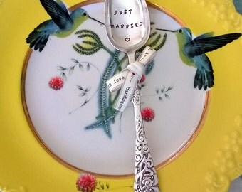 Just Married - Handstamped Silverplated Vintage Spoon