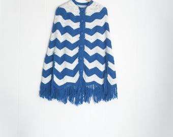 Vintage Poncho - Knit Poncho - Wool Poncho - Tassel Trim - Winter Cloak - Crochet Poncho - Boho Poncho - Blue and White - Chevron Pattern