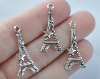10 Pcs Eiffel Tower Charms Antique Silver Tone 2 Sided 30x14mm - YD0960