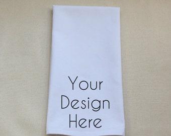 Custom Design Personalized Embroidered or Appliquéd White Tea Towel