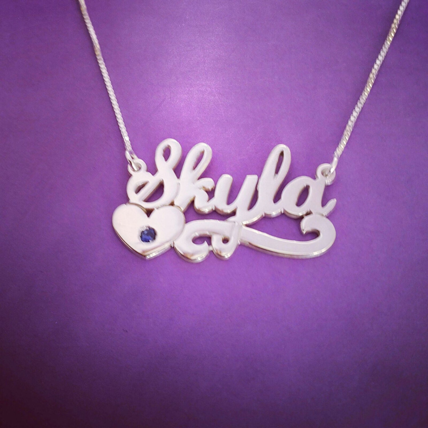 word necklace kyla name on necklace birthday gift heart
