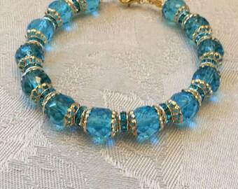 Aqua Blue Crystal And Rhinestone Beaded Gold Tone Bracelet
