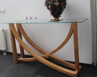 Special curved table with glass top