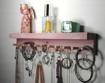 Jewelry Organizer Wall Hanging Jewlery Holder with Shelf. Necklace Holder, Earring, Bracelet Bangle, Ring Holder. Jewelry Gifts for Her.