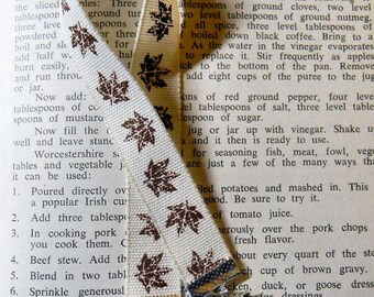 Pine Cone Leaf Ribbon Bookmark, Pine Cone and Leaf Charms, Ribbon Bookmark, Ribbon Bookmark with Charms, Handmade Ribbon Bookmark