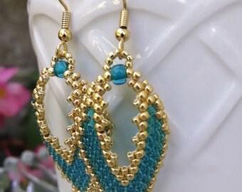 Unique Earrings - Seed Bead Earrings - Boho Earrings - Russian Leaf Earrings - Beaded Earrings - Dangle Earrings - READY TO SHIP