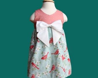Spring Birds Bow Dress - Summer Bow Dress- Toddler Dress- Baby Dress - Easter Dress- Salmon with White Dots Teal Turquise
