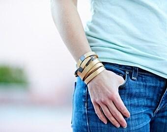 Boho Leather Wrap Bracelet Set, Multi Strand Leather Bracelet, Gold Leather Wrap Bracelet, Womens Leather Wrap Bracelet, Stackable Bracelets