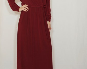 Burgundy dress Wine red maxi dress Batwing dress with long sleeves