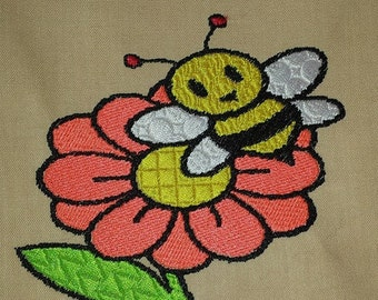 BEE N FLOWER embroidery design   4 x 4      5 x 7      6 x 9