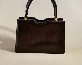 Vintage Dark Brown Schmitz Leather Bag, Ladybag, Handbag, Handpurse, Evening Bag