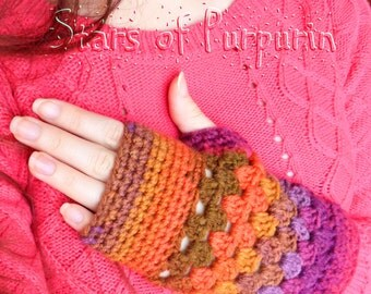 Mittens Autumn Spitit - Multicolored, Gloves, Mitts, Winter, Violet, Brown, Gift