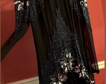 Black chiffon beaded and sequined party dress flapper meets Edwardian 80's 20's old Hollywood glamor size 10